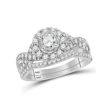 14kt White Gold Womens Round Diamond Twist Bridal Wedding Engagement Ring Set 1.00 Cttw - image 1 of 1