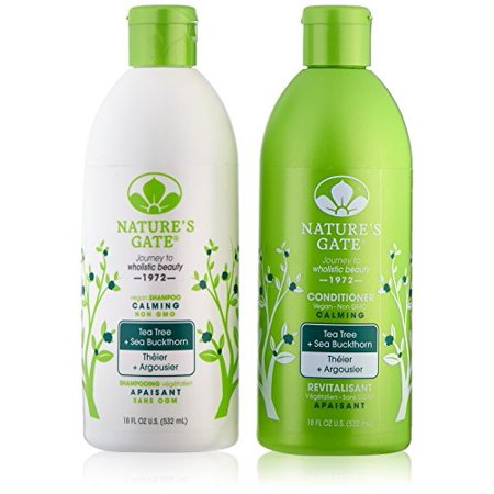 Nature's Gate Tea Tree Calming for Irritated, Flaky Scalp, Duo Set Shampoo & Conditioner, 18 Oz Each