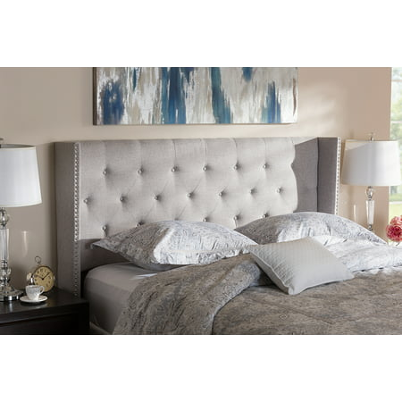 Baxton Studio Ally Modern And Contemporary Grayish Beige Fabric Button-Tufted Nail head King Size Winged Headboard ()