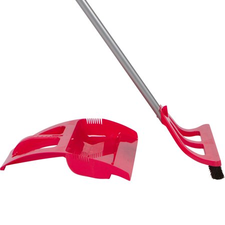 WISPsystem Angle One-Handed Broom with Dust Pan and Telescopic Handle w/ Electrostatic Bristles Red