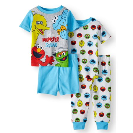 Sesame Street Baby boys' cotton tight fit pajamas, 4-piece set - Sesame Street Halloween Safety