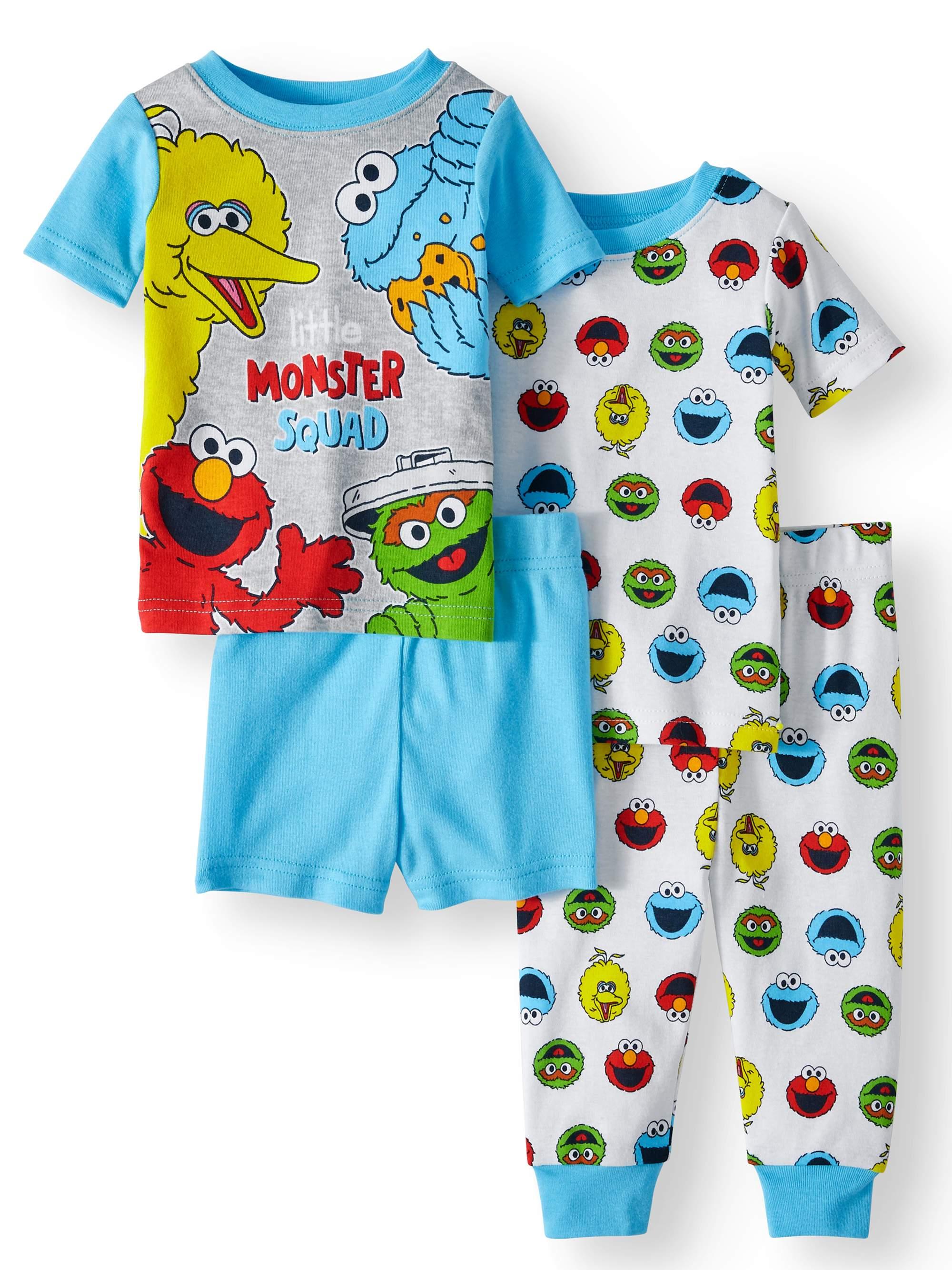 Baby Boys' Cotton Tight Fit Pajamas, 4-Piece Set