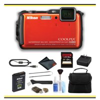 Nikon COOLPIX AW120 Waterproof Digital Camera (Orange) Starter Bundle - (Intl Model)
