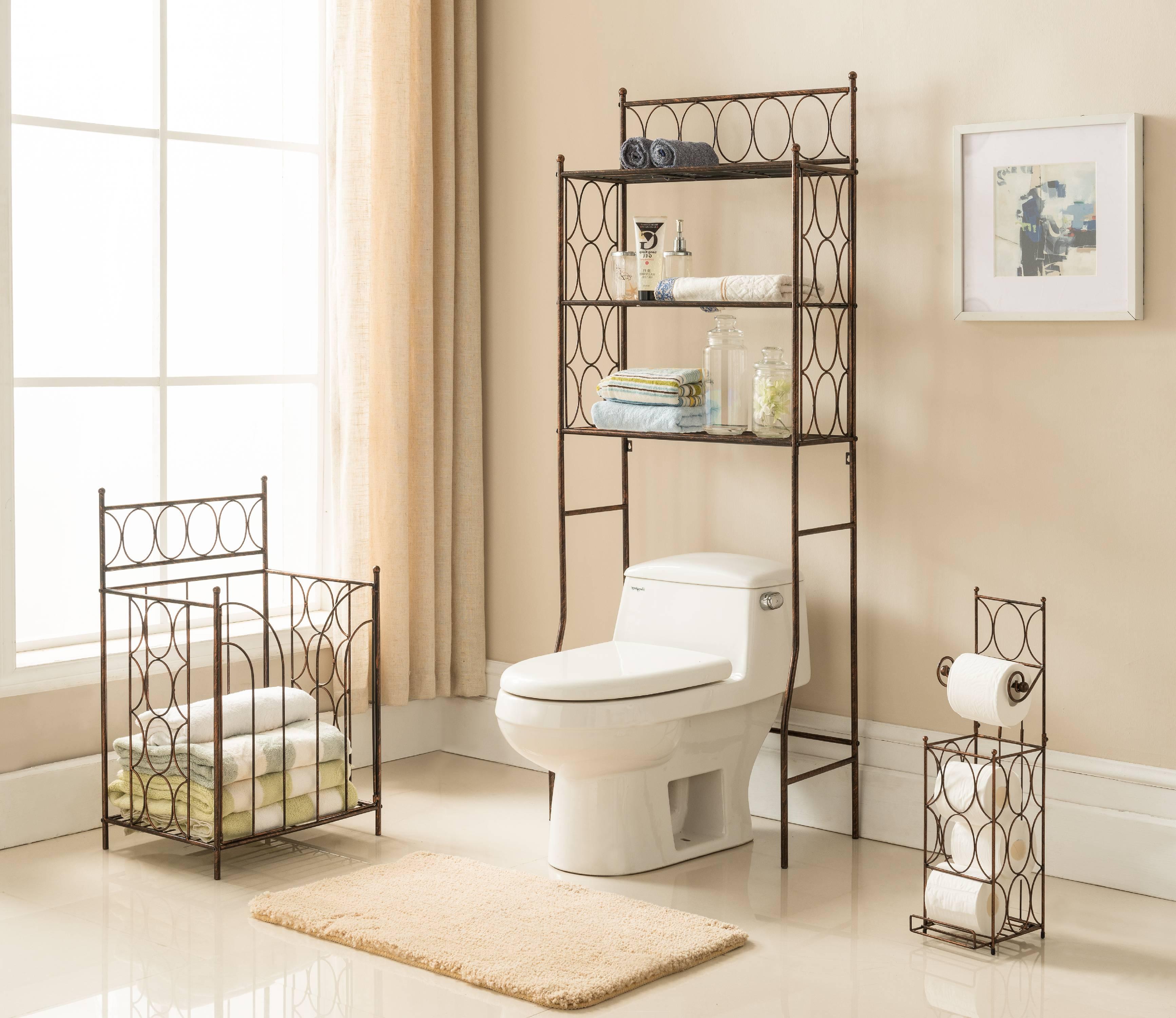 3 Piece Copper Iron Bathroom 3 Tier Shelf Storage, Toilet Paper Holder U0026  Towel Rack Stand Organizer Display Set