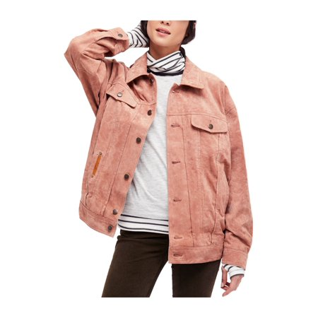 People Leather - Free People Womens Leather Trucker Track Jacket sand XS