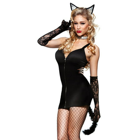 Seven Til Midnight Sexy Black Kitty Cat Outfit Womens Halloween Costume (7 Days Till Halloween)