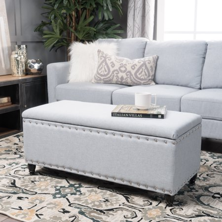 Noble House Harrisburg Fabric Storage Ottoman, Light Grey