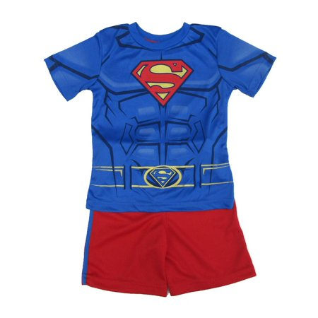 DC Comics Little Boys Royal Blue Red Superman Print 2 Pc Shorts Outfit - Superman Outfit