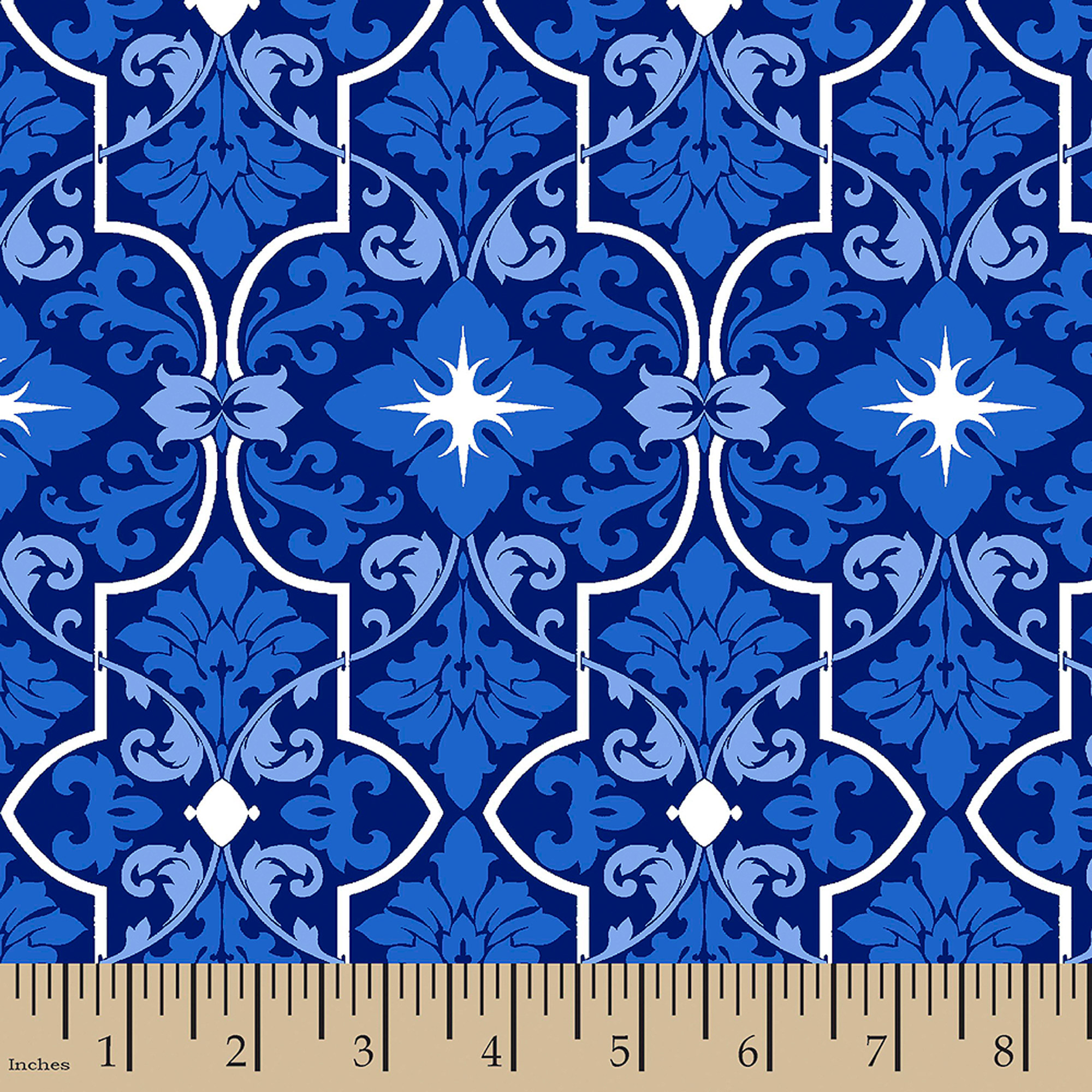 """Toute Sweet Flocking, Cotton, Blue, 44/45"""" Wide, Fabric By The Yard"""