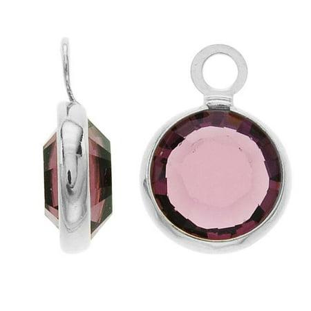 SWAROVSKI ELEMENTS Rhodium Plated Channel Crystal Charm Amethyst 10mm (8)