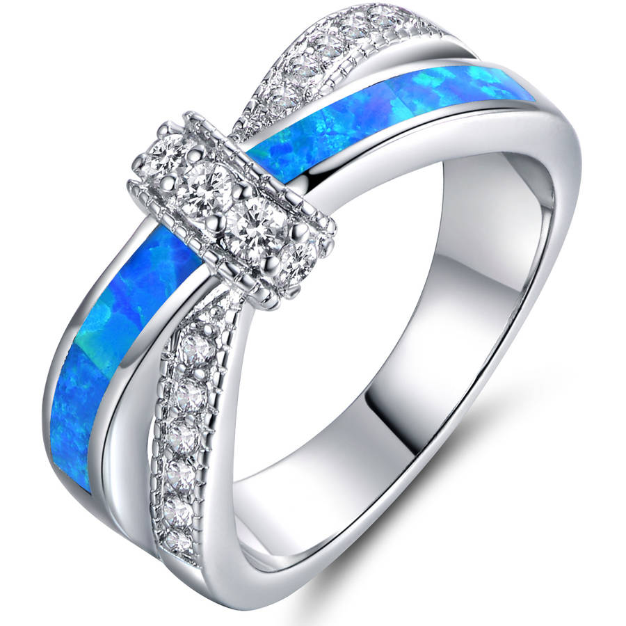 Blue Opal Cubic Zirconia 18kt White Gold-Plated Crisscross Ring by Generic