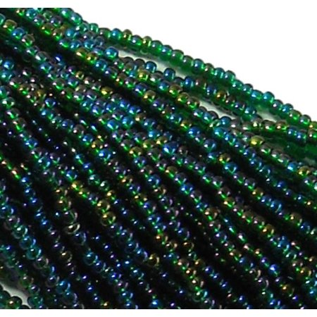 Czech 11/0 Glass Seed, Loose Beads, 1 6 String Hank Preciosa AB - Czech Glass Beads Wholesale