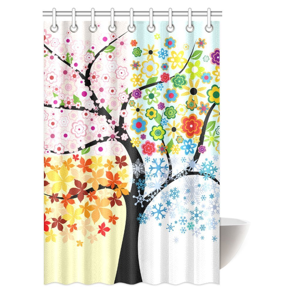 GCKG Colorful Tree Four Seasons Decor Shower Curtain Art Polyester Fabric Berry Green Red Yellow Navy Brown 48x72 Inches