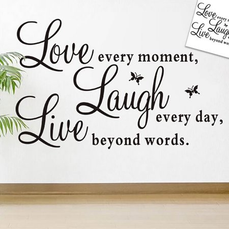 Live Laugh Love Wall Decal Vinyl Black & Words & Phrase Stickers Quote Word for Bedroom Living Room - Vinyl Wall Words
