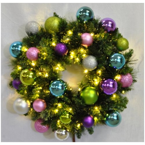 Queens of Christmas Pre-Lit Sequoia Wreath Decorated with Victorian Ornament