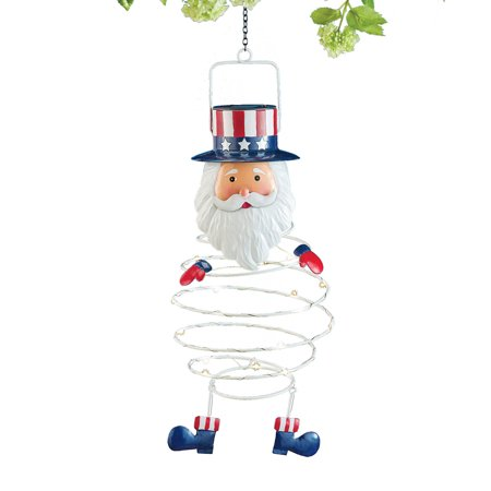 Solar Spiral-Shaped Uncle Sam Hanging Lantern with Red, White, and Blue Accents -Hanging Yard Figurine for Tree or Porch ()