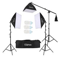 Photo Video Studio Softbox Lighting Kit, Background Support System and 65W Softbox Continuous Lighting Kit for Photo Studio Product