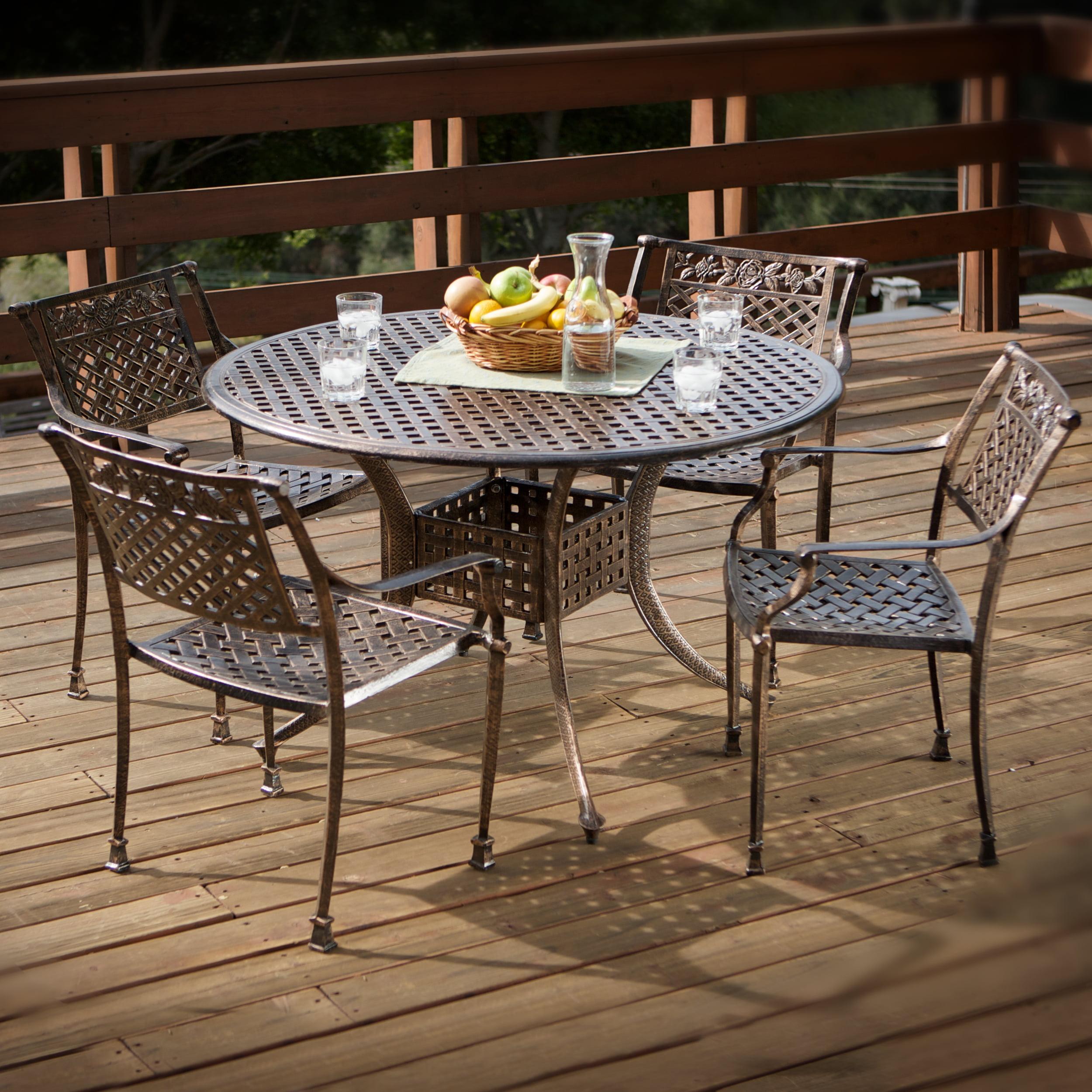 Emory 5 Piece Cast Aluminum Outdoor Dining Set, Dark Copper