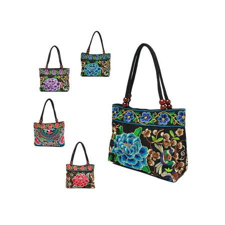 20034e7797 Meigar Mammy Women Ethnic Embroidery Peony Shoulder Bag Hangbang Gift -  Walmart.com