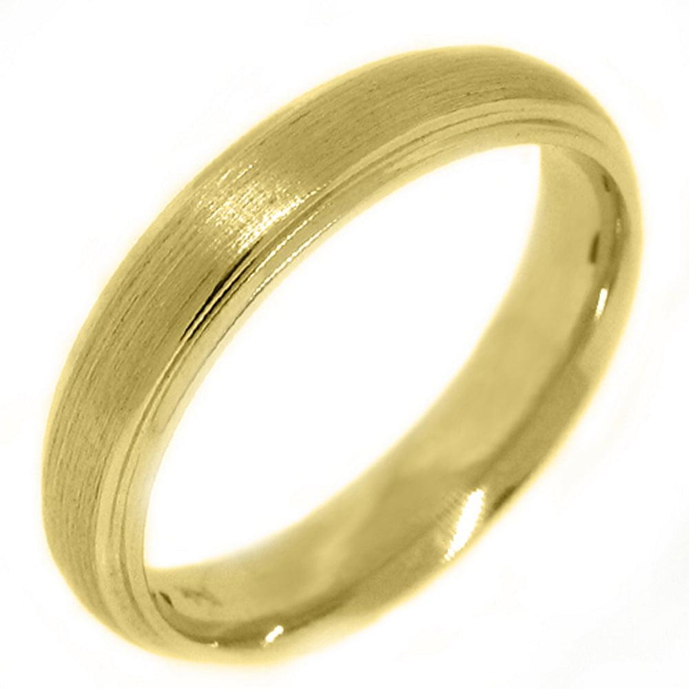 14K Yellow Gold Mens Wedding Band 4.5mm Sand Finish (Size 6)