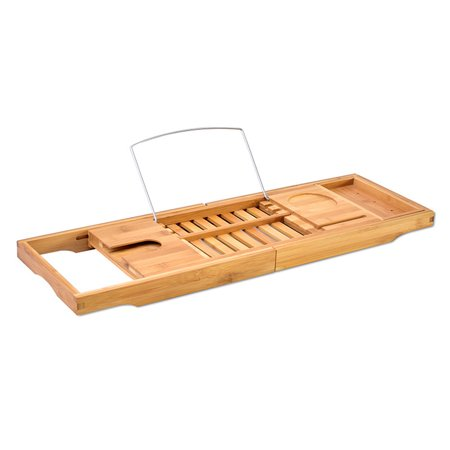 Expandable Bathtub Rack Caddy Bamboo Wood Shelf Shower Book Table Tray Holder - image 5 of 9