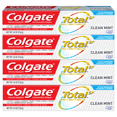 Colgate Total Toothpaste, Clean Mint, 4.8oz 4-pack