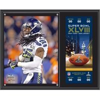 """Richard Sherman Seattle Seahawks Super Bowl XLVIII Champions Sublimated 12"""" x 15"""" Plaque with Replica Ticket"""
