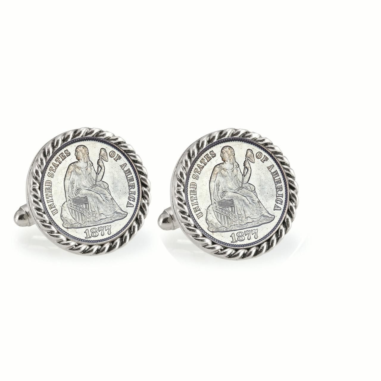 Seated Liberty Silver Dime Silvertone Rope Bezel Coin Cuff Links