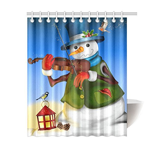 GCKG Snowman With Violin And Lantern Shower Curtain Winter Bird Greeting Polyester Fabric Bathroom Sets 60x72 Inches