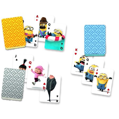 Minions Card Tin (Pack of 3), Three decks of playing cards and a card holder for smaller hands stored in a wonderfully decorated tin By Cardinal Industries Ship from US (Minion Play Card)