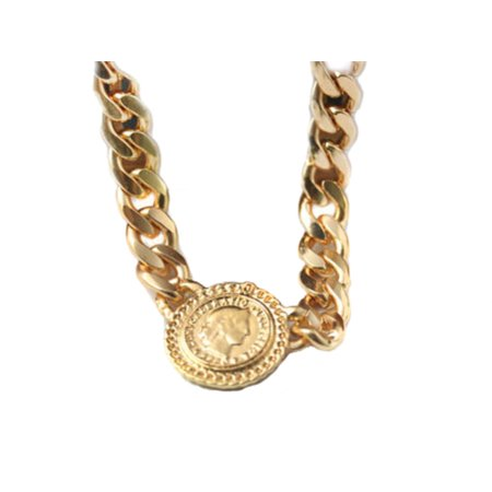 Chunky Profile Dollar Coin Bling Chain Link Urban Fashion Statement Necklace (Urban Bling)