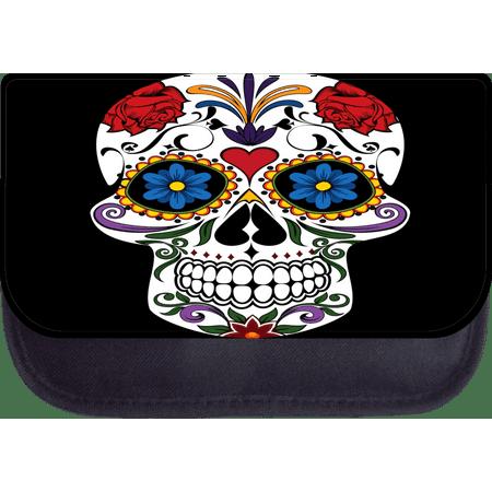 "Sugar Skull - 5"" x 8.5"" Medium Sized Black Multi-Purpose Cosmetic Case - Makeup Bag - with 2 Zippered Pockets and Nylon Lining"