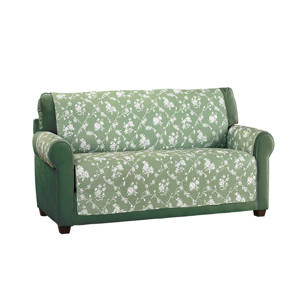 Lattice Floral Furniture Cover Protector, Springtime Home Décor, Loveseat, Sage