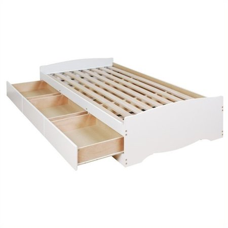 Prepac Monterey White Double / Full Bookcase Platform Storage Bed