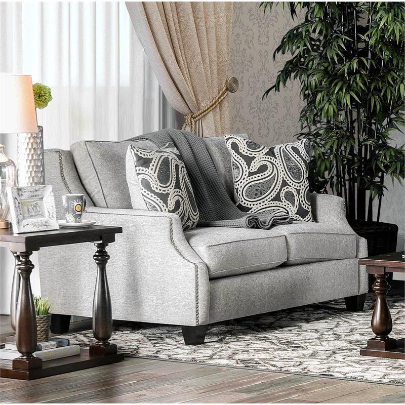 Furniture of America Velma Transitional Loveseat in Light Gray