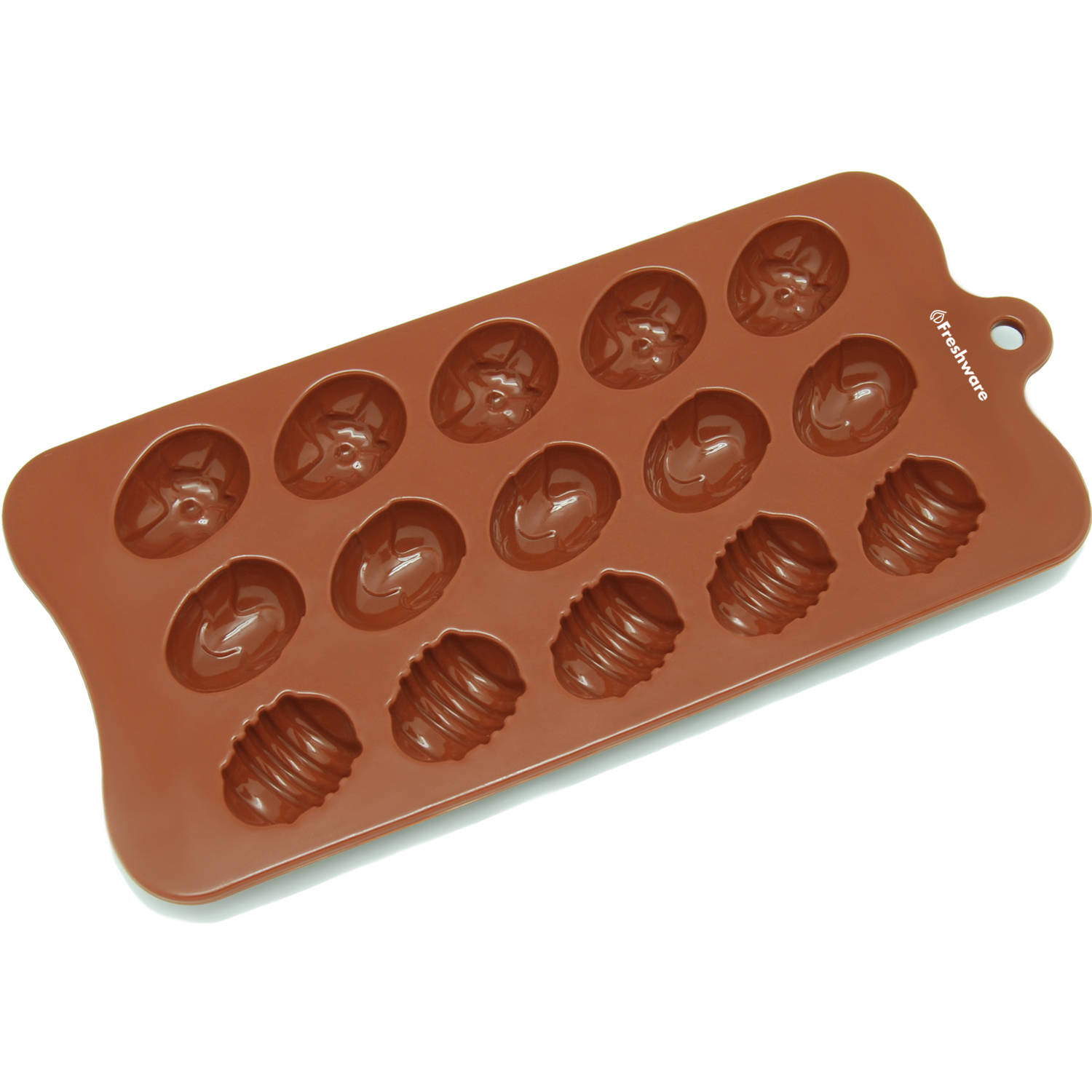 Freshware 15 Cavity Easter Egg Silicone Mold for Chocolate Candy