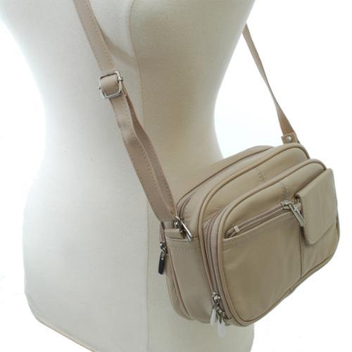 Womens Leather Organizer Purse Shoulder Bag Handbag Cross Body Bag Large Clutch Beige One Size