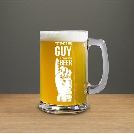 CustomGift 15 Ounce Beer Glass This Guy Needs Beer 15 Oz Printed Craft Beer Mug, Beer Mugs... by