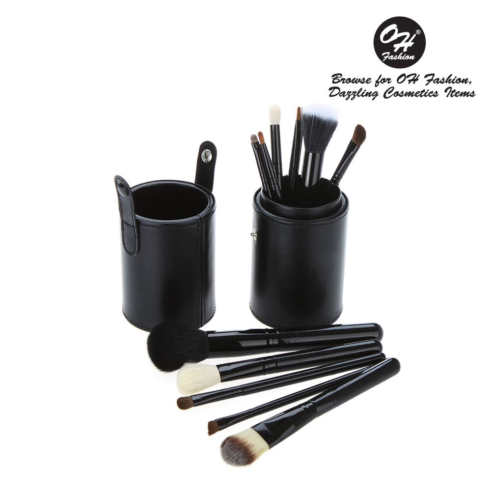 OH Fashion 12 pc Makeup Brushes Set, Midnight Black, Powder, Eyeshadow, Blush , Foundation, Blending, Eyeliner, Lip - Great for Highlighting & Contouring. Includes cylindrical storage case.