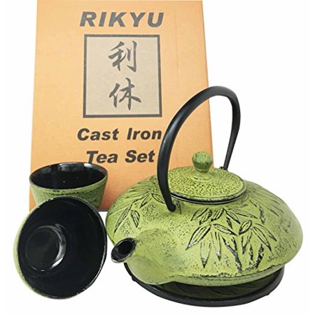 Japanese Evergreen Bamboo Forest Yellowish Green Heavy Cast Iron Tea Pot Set With Trivet and Cups Set Serves 2 Packaged in Teapot Gift Box Excellent Home Decor Asian Living Gift