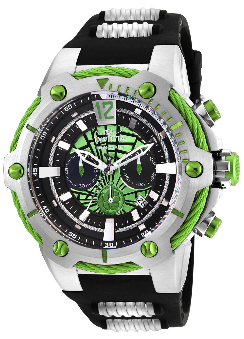 Men's 25985 Marvel Quartz Chronograph Green Dial Watch