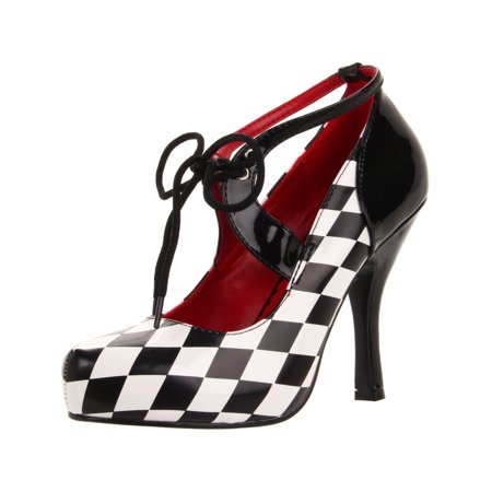 Womens Checkered Pumps Race Car Driver Shoes Halloween Costume 4 Inch