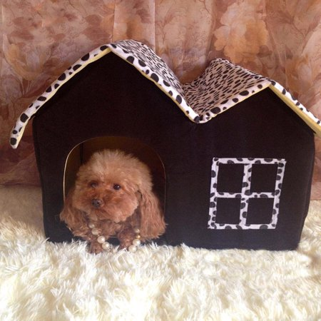 Ktaxon Luxury High-end Double Pet House/black Dog Room Cat Bed 53 x 36 x 44.5 Cm