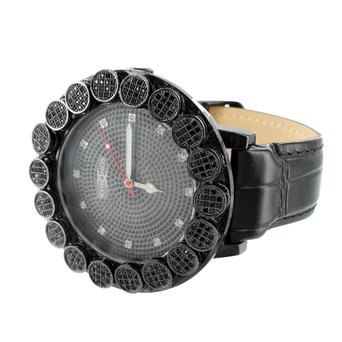Black Leather Diamond Watch (Black Gold Finish Diamond Watch Leather Band Quartz Movement New Mens)