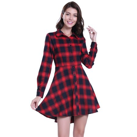 terrific value sale new specials Miss Moly Women's Long Sleeve Plaid Shirt Dress Single Breasted Navy Blue  and Red Plaid Dress