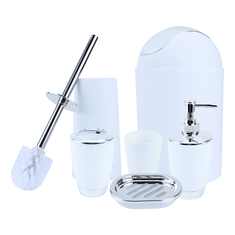 6 Piece Bathroom Plastic Accessories Set,Plastic Bath Set Lotion Bottles, Toothbrush... by HURRISE SPORT