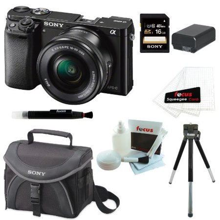Sony Alpha a6000 24.3 Interchangeable Lens Camera with 16-50mm Power Zoom Lens Value Bundle