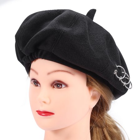 c3d7635f2f273 2Colors Fashionable Female Beret Wool Beanie Women Hat Painter Cap with  Ring Ornaments