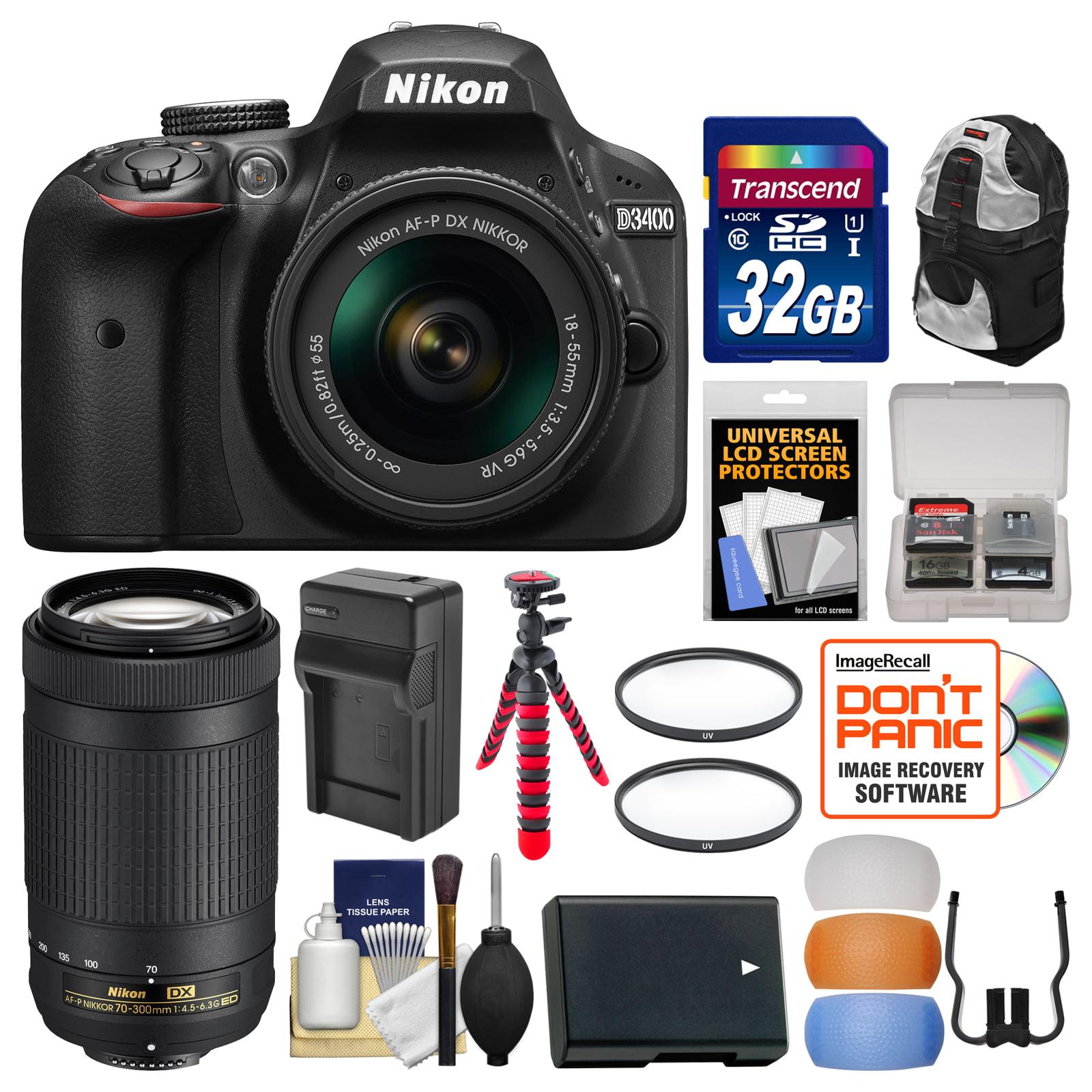 Nikon D3400 Digital Slr Camera 18 55mm Vr 70 300mm Dx Af P D5300 Kit Lenses With 32gb Card Backpack Battery Charger Flex Tripod Filters Walmart