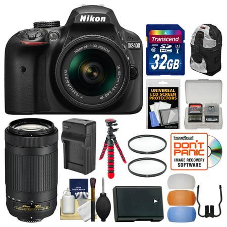 Vr Lens Digital Camo (Nikon D3400 Digital SLR Camera & 18-55mm VR & 70-300mm DX AF-P Lenses with 32GB Card + Backpack + Battery & Charger + Flex Tripod + Filters + Kit)
